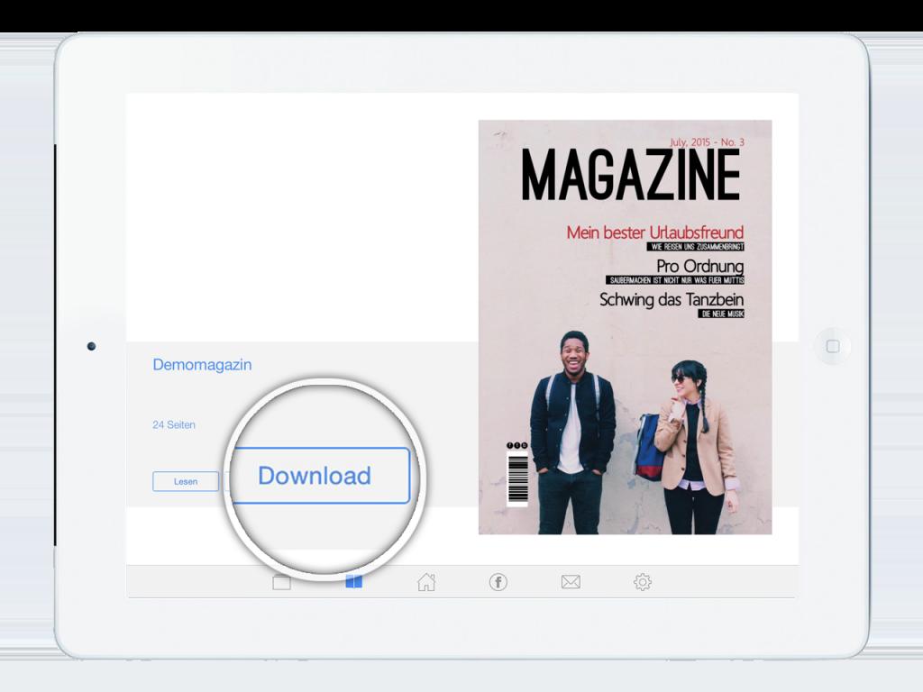 Leser können Ausgaben herunterladen, um sie in der App auch ohne Internetverbindung zu lesen.
