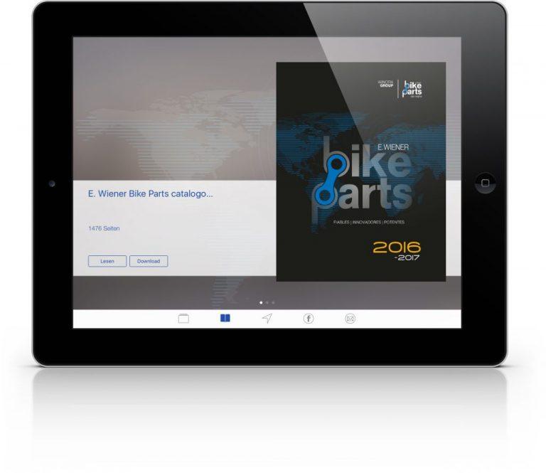 Die ePaper-Katalog App von E.Wiener Bike Parts für iOS und Android