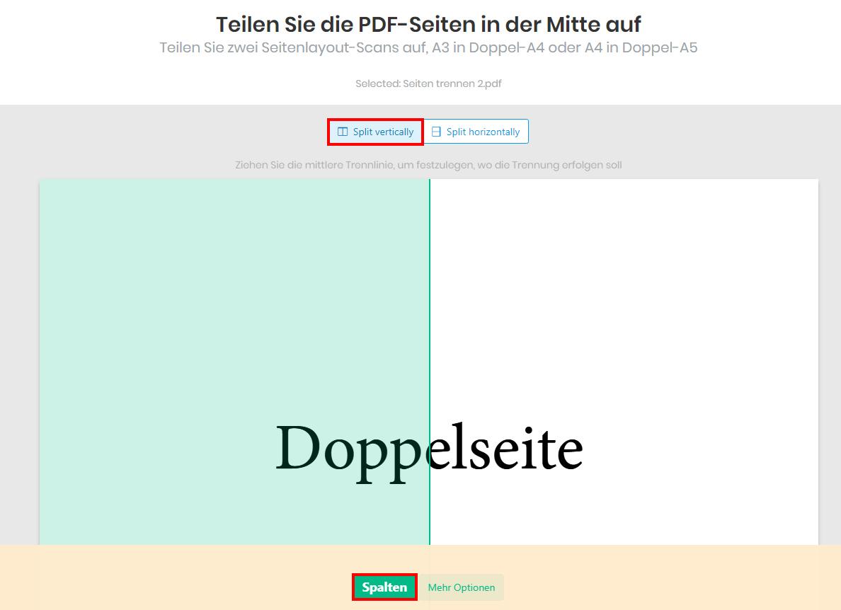 Kostenlos online PDF Doppelseiten in Einzelseiten umwandeln