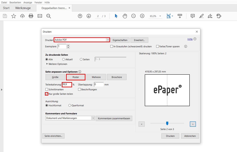 PDF Doppelseiten trennen mit Adobe Acrobat oder Adobe Reader